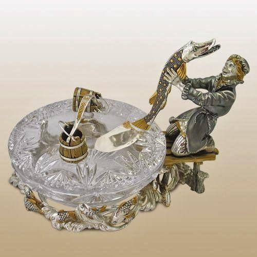 """Столовый прибор для икры """"По щучьему веленью"""" http://olginia.com.ua/service/serebro/russkoe-serebro #подарки #столовое_серебро #серебро #vip_подарки #подарки_для_женщин #подарки_для_мужчин #киев  #купить"""
