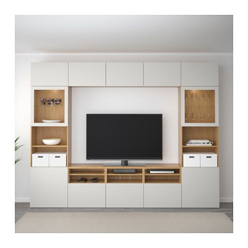 BESTÅ TV storage combination/glass doors Oak effect/lappviken light - Wohnzimmer Ikea Besta