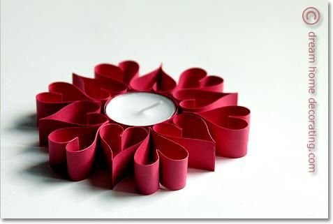 Valentine Crafts : Make Valentine Table Decorations From Tea Candles & Colored Card