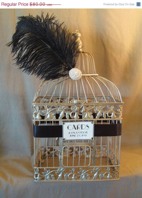 Hollywood Glam Wedding Card Box With Pearls and Ostrich Feather / Champagne Birdcage Card Holder / Vintage Inspired / Art Deco. $76.00, via Etsy.