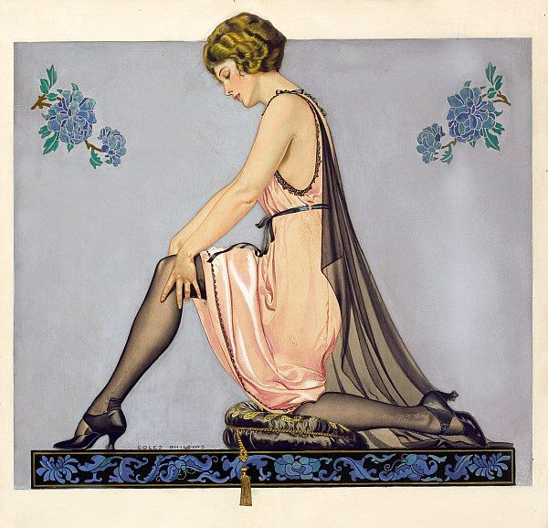 Art deco advertising image for hosiery 1922 by Clarence Coles Phillips.