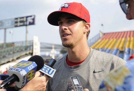 Aaron Nola, the Philadelphia Phillies top draft pick, talks to media the day before his first start in Reading with the Fightin Phils. | Reading Eagle - SPORTS #baseball #philly #phillies #philadelphia #philadelphia-phillies #Aaron-nola #nola #reading-pa