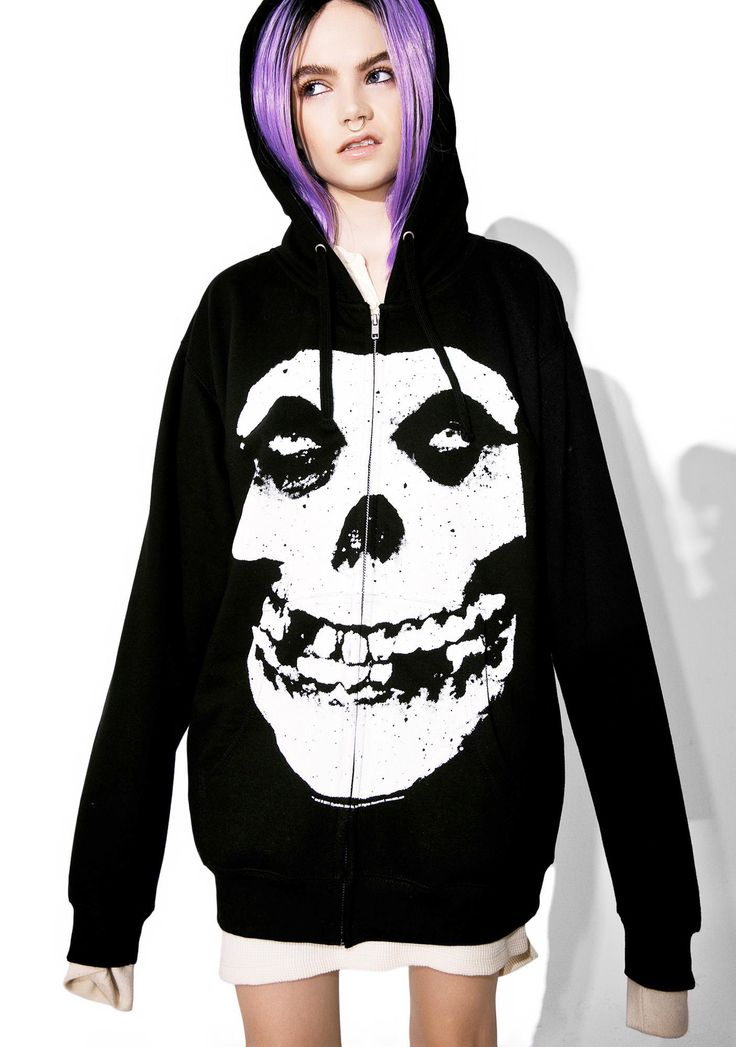 Hybrid Moments Zip-Up Hoodie yew gotta give us a moment, babe. This zip-up hoodie features a drawstring hood, two pockets, and a classikk Misfits skull grinnin' at yew across the front.