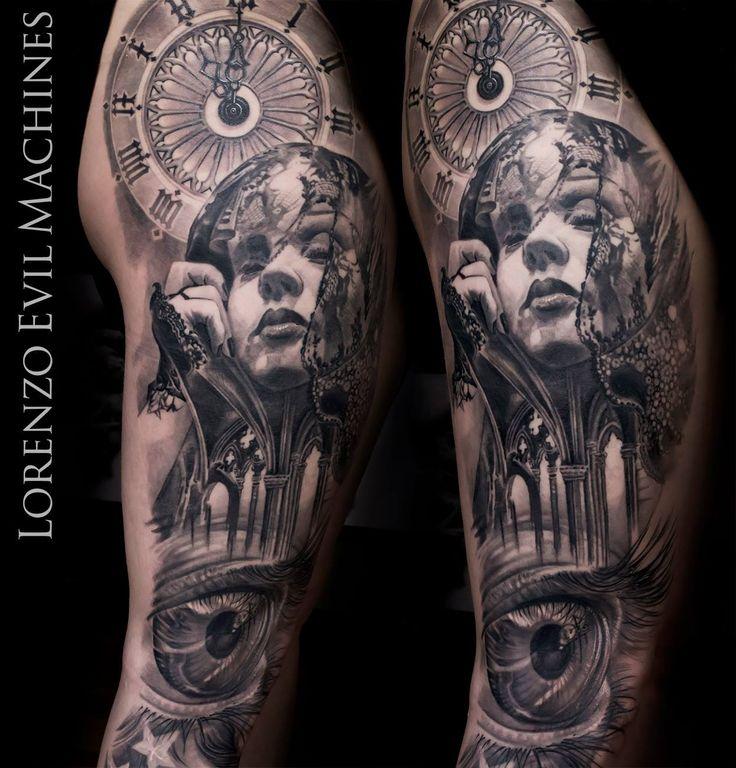 Gothic Eye Watch Woman Realistic Tattoo by Lorenzo Evil Machines, Roma - Italia