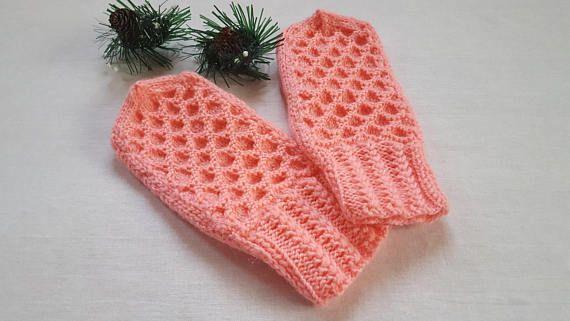 Knit mittens Mittens Hand wear Pink Winter mittens Hand