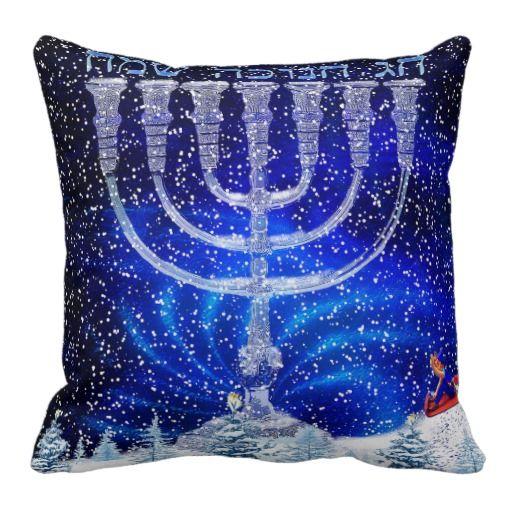 Happy Hannukah Snow Pillow