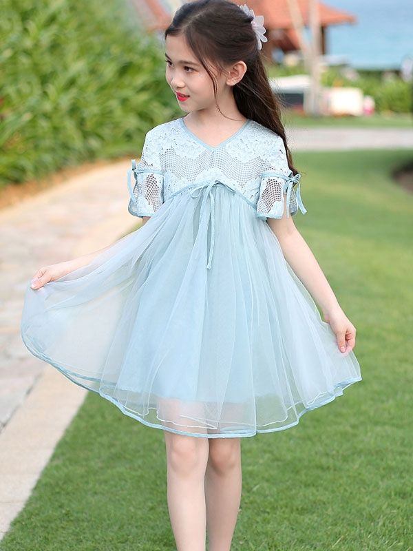 8755bbaab Hollow Out Lace Contrast Solid Color Casual V-Neck Collar Short Sleeves  Mini Dress #alinedress