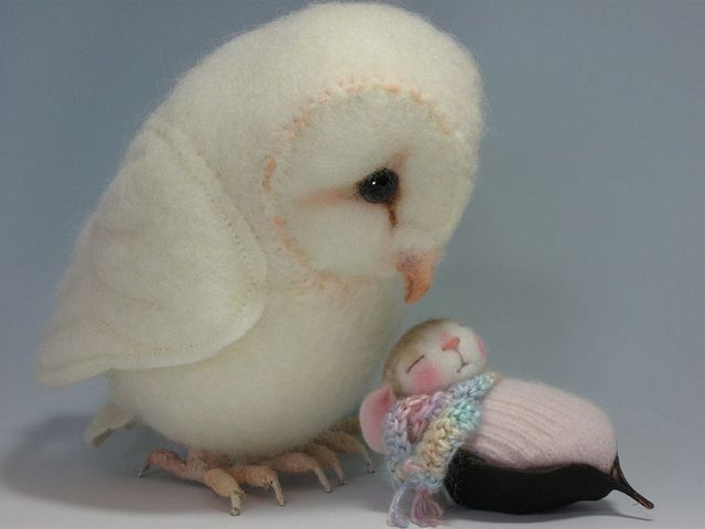 Needle felted Pawdling Bunny By Barby Anderson / Baby Barn Owl by Helen Priem by feltedmice, via Flickr