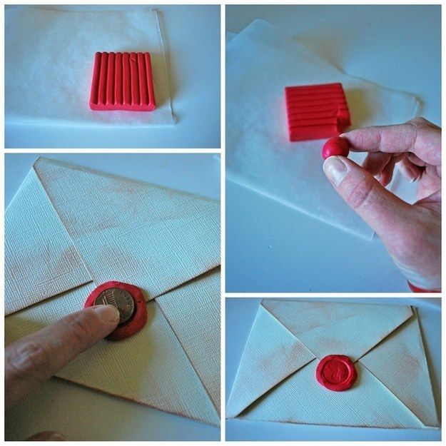 Imprint a penny into clay or Play-Doh to create a seal in your invites.