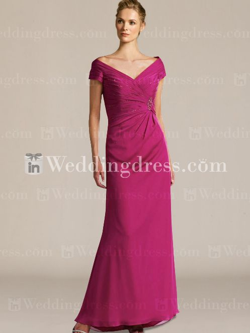 Long Chiffon Tip-of-the-Shoulder Mother of the Groom Dress MO093