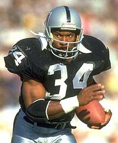Bo Jackson ... I'd say the best NFL running back of all time. Had he not been injured, he would have put up some prolific numbers. Only RB in history to have two TD runs of 90 or more yards. Mixture of speed and strength. Add to that his baseball career ... man, what an athlete.  Still a great person raising money for the people of 'Bama  who lost homes to the Tornados of 2011.