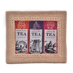 Eco-friendly hand made jute box with 3 choice teas