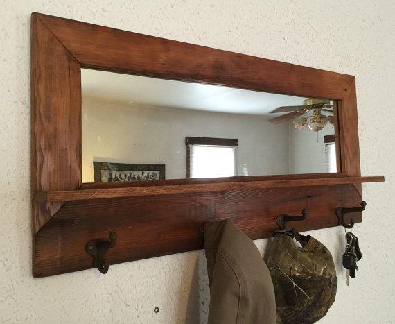 Grange bois manteau miroir plateau la main artisanale rustique primitive ba - Etagere murale rustique ...