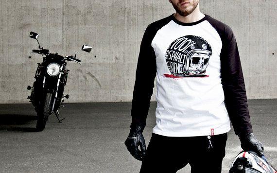 100% Asphalt Friendly Tee-Unisex motorcycle Tee-Men's motorcycle shirt-Women's motorcycle shirt-Caferacer Tee-Motorcycle clothing-Skull Tee
