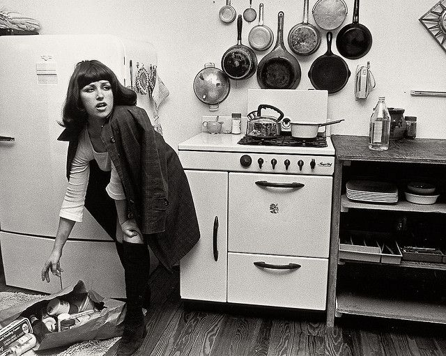 """Cindy Sherman """"Untitled Film Stills"""". Sherman transforms herself with wigs, clothes and make up. This series explores the female stereotypes we are fed in films which reinforce are bias of what a woman should be. Create your own characters and pose in a domestic setting like Sherman."""