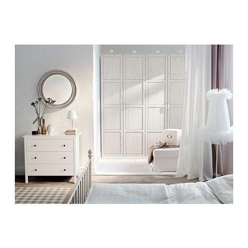 PAX Wardrobe, white, Hemnes white stain white Search, Ikea pax wardrobe and Doors