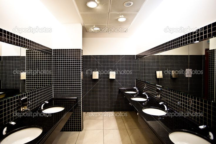 Empty restroom interior with washstands, - Стоковое изображение: 1286888