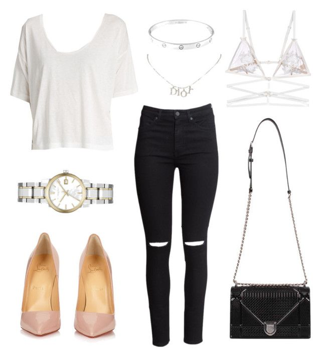 """""""Untitled #21229"""" by florencia95 ❤ liked on Polyvore featuring H&M, T By Alexander Wang, Christian Louboutin, Burberry, For Love & Lemons, Cartier and Christian Dior"""