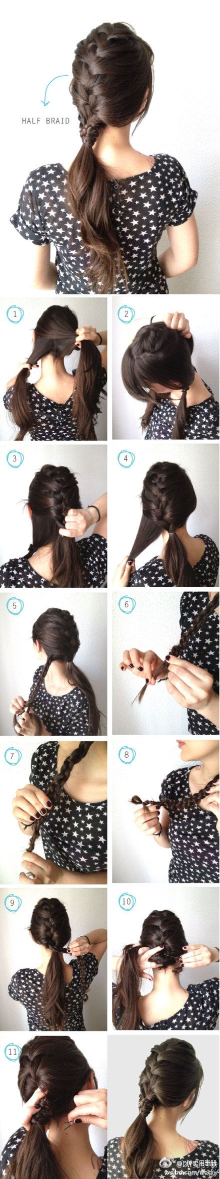 braid half your hair and tie in a ponytail.