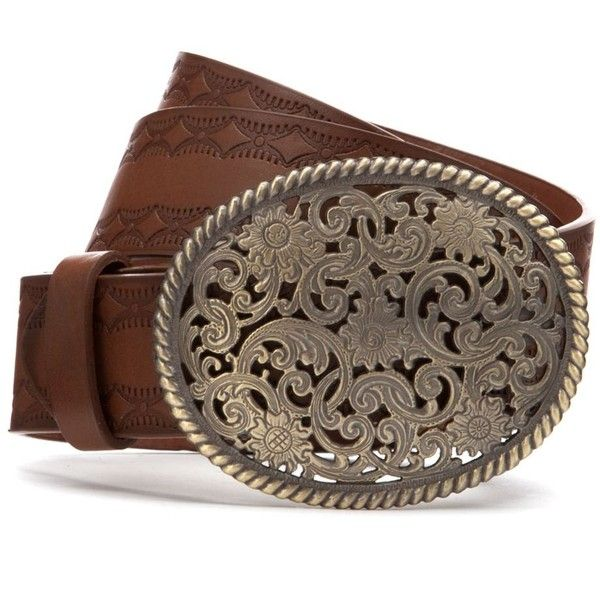 Brown Leather-Look Western Buckle Belt ($8.04) ❤ liked on Polyvore