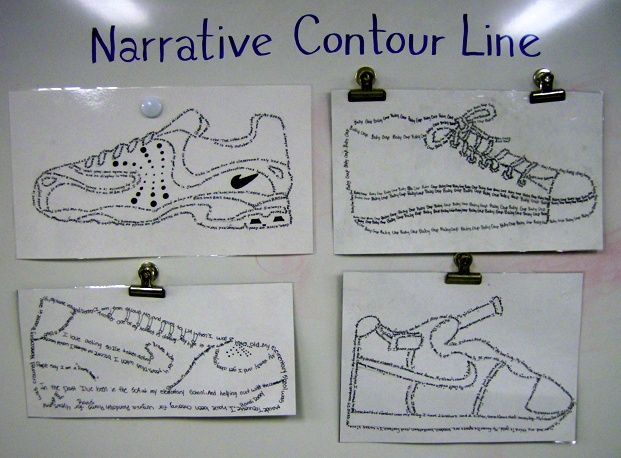 """Narrative Contour Line: Shoes"" Lesson... 6th Grade"