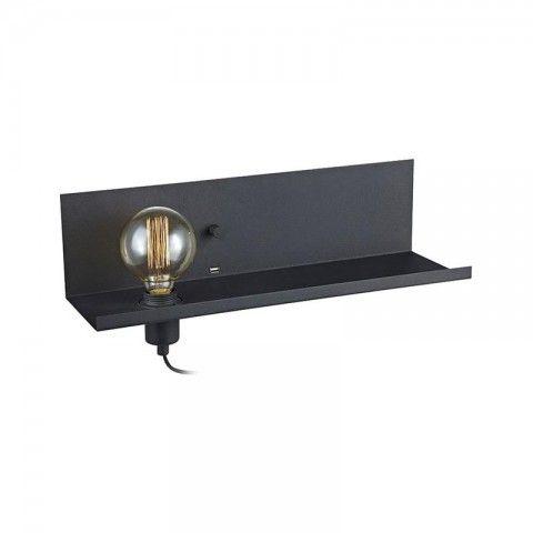 Kjøp VEGGLAMPE MULTI SVART 50 CM - MARKSLÖJD  online hos BAUHAUS.  Vegglampe Multi svart 50 cm - Markslöjd Multi er en kombinasjonsvegglampe fra Markslöjd som fungerer som både hylle og lader. I vegglampen er det en