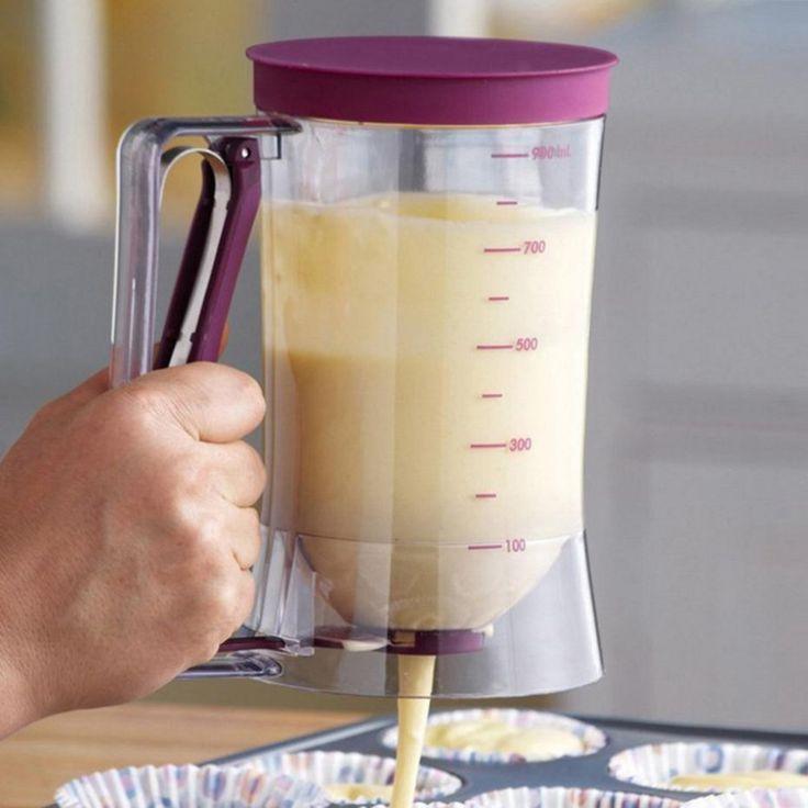 Diy cupcake pancake kue krim campuran dispenser saluran mengukur piala muffins bakeware dapur cetakan aksesori alat 900 ml dispenser