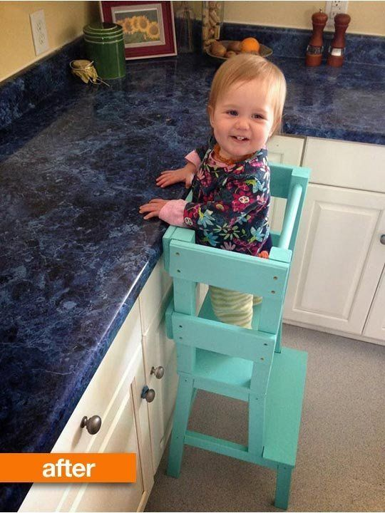 """""""Tower"""" so a toddler can reach the kitchen counter! Before & After: IKEA BEKVÄM Stool Solves a Special Problem"""