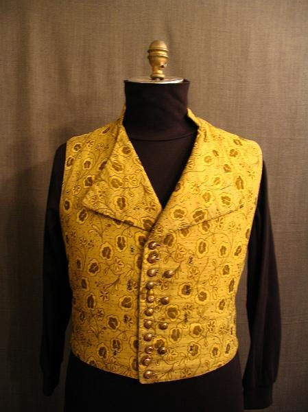 09004392 vest early 19th c yellow floral c45 w37 1800