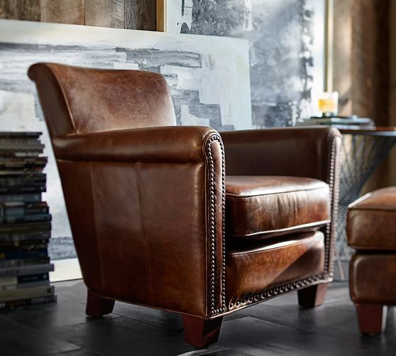 Irving Leather Armchair with Nailheads | Pottery Barn  Molasses