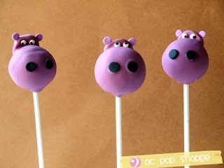 Hippo Cake Pops :) Matches the bed set.