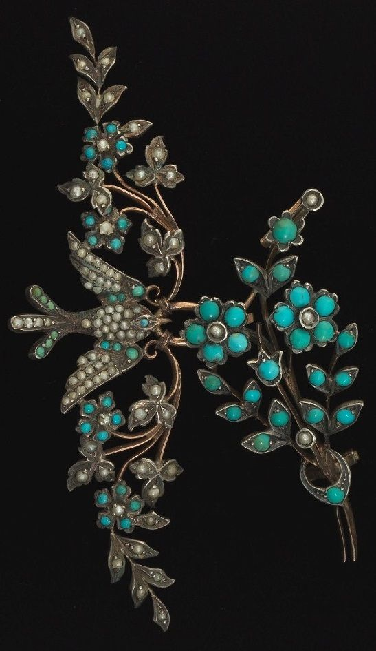 Two Victorian silver and turquoise jewels. Both mounted in silver and some gold: pendant depicts a bird carrying two floral branches, set with turquoise cabochons and seed pearls; second piece is a flower bouquet brooch, with additional hooks on back. 3 x 1 in, 2 x¾ in. #Victorian #pendant #brooch