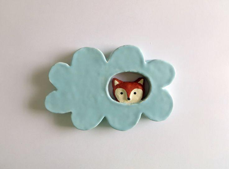 Fox in a Cloud Ceramic Wall Hanging от PearsonMaron на Etsy