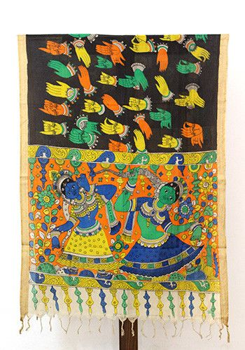 Black Pen Kalamkari Dupatta – Desically Ethnic