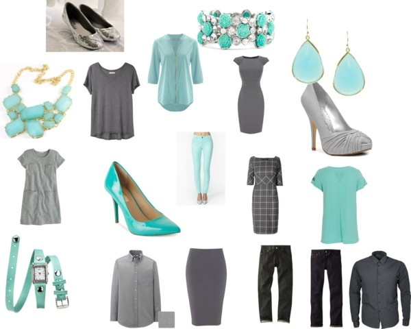 """aqua and gray family pictures"" by maryjane-jarman on Polyvore"