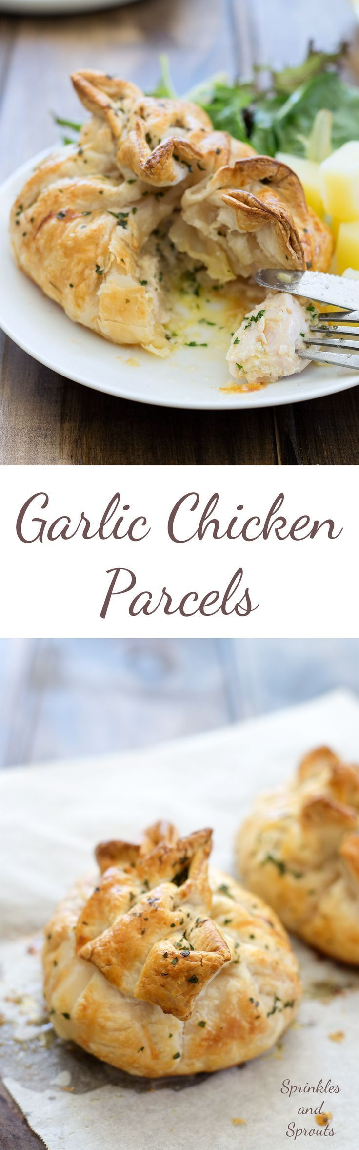 These Garlic Chicken Parcels are super easy and super impressive. Individual parcels, filled with juicy chicken and oozing with garlic butter. They are perfect for entertaining as they can be prepared ahead of time and then just popped in the oven to cook