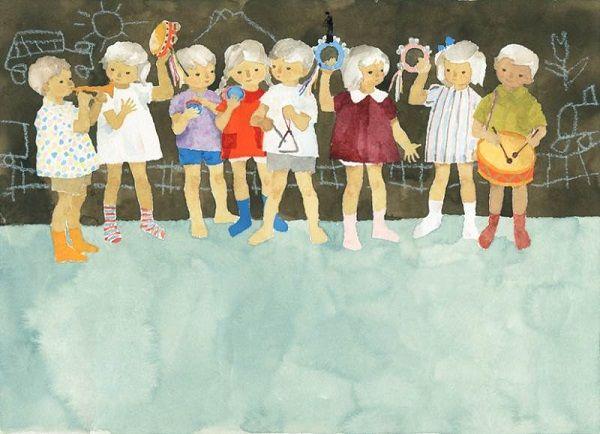 """Iwasaki Chihiro """"Những đứa trẻ chơi nhạc cụ"""" (1957)"""