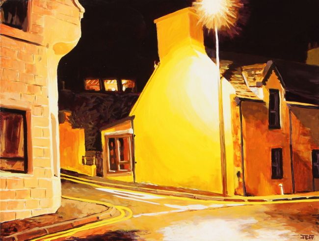 Scalloway Nocturne Acrylic on canvas 30x40 inches July 2014  I was struck by the colours and geometry of the village after dark. Maybe as there is little to no ambient light pollution aside from the street lights themselves. This is a typical nocturnal scene of a 19th Century house along the Main Street in Scalloway.  It looks deceptively still, without any evidence of the eve r-present 50km wind
