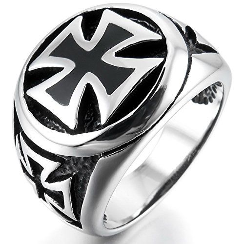Men's Large Stainless Steel Ring Silver Tone Black Cross