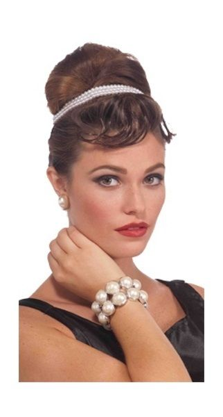 White Pearl 1920's Novelty Bracelet  Flapper Beads Dress Up Accessory   Flapper Party Supplies