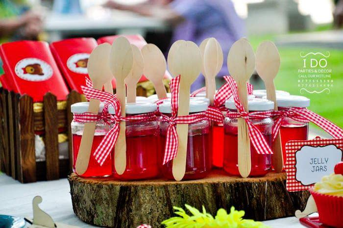 Jelly jars from a Teddy Bear Picnic Birthday Party via Kara's Party Ideas   KarasPartyIdeas.com   The Place for All Things Party! (10)