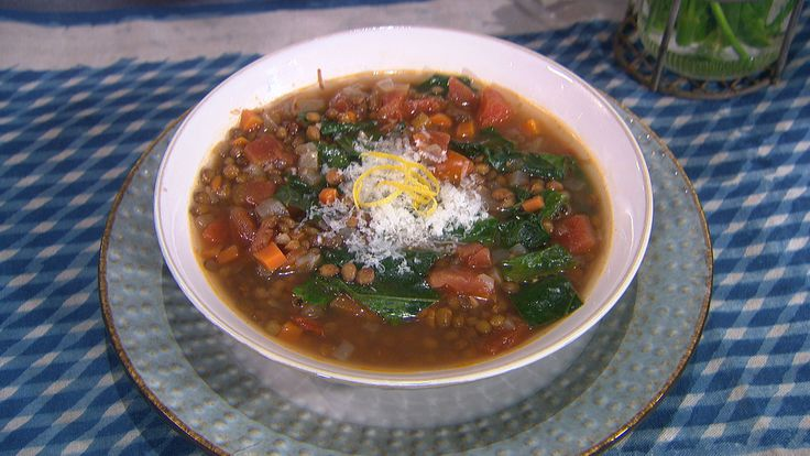 Lentil and BroccoLeaf Soup with Manchego Cheese