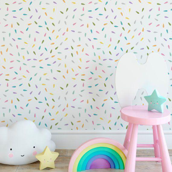 Rainbow Drops Self Adhesive Wallpaper Removable Alternative Etsy Self Adhesive Wallpaper Nursery Wallpaper Removable Wallpaper