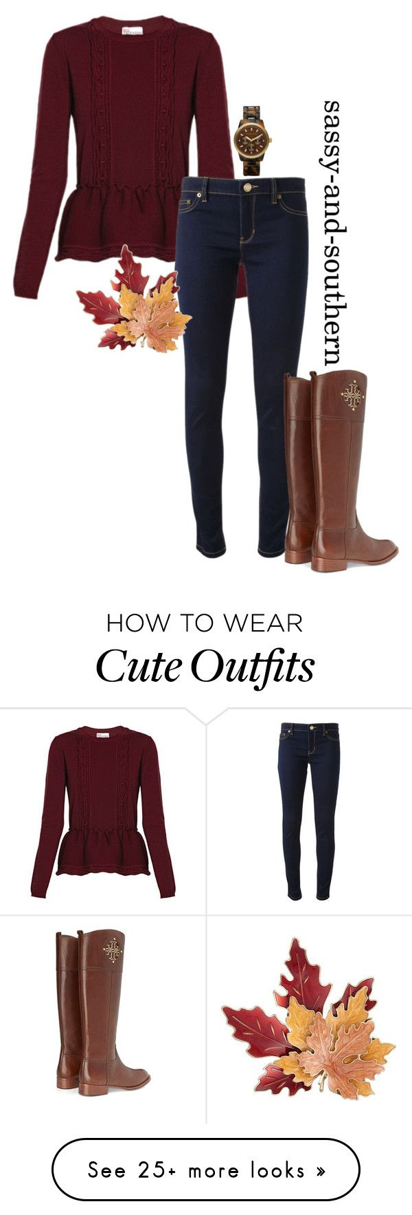 """""""cute fall outfit"""" by sassy-and-southern on Polyvore featuring RED Valentino, Michael Kors, Croft & Barrow, Tory Burch, MICHAEL Michael Kors and sassysouthernfall"""
