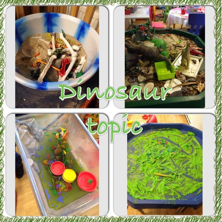 Some of our dinosaur topic continuous provision enhancements in EYFS. Dinosaur slime (custard and green food colouring), dinosaur swamp, small world area and digging for bones.