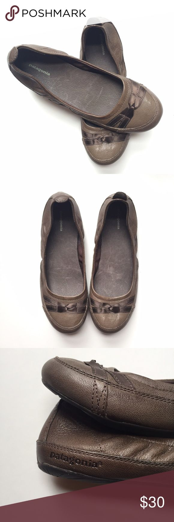 Patagonia Leather Flats Quality leather upper and rubber sole. Ribbon bow detail. Patagonia Shoes Flats & Loafers