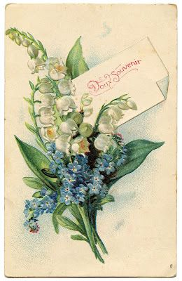 Vintage Floral Graphic - Lily of the Valley - French - The Graphics Fairy