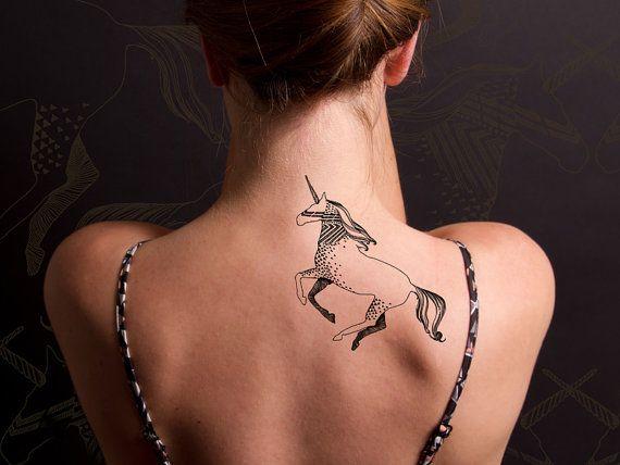 Eenhoorn tijdelijke tatoeage van deKrantenkapper op Etsy
