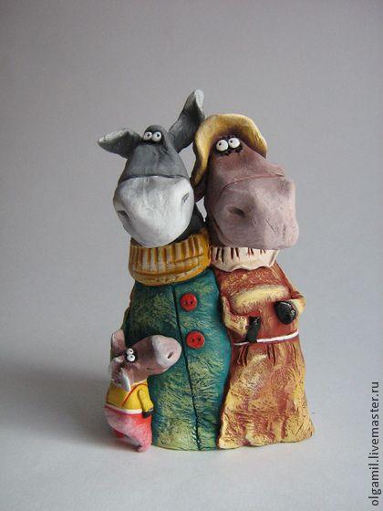 Семейка - ослик,осел,семья,смешная игрушка,Керамика,акрил,статуэтка,интерьерная кукла