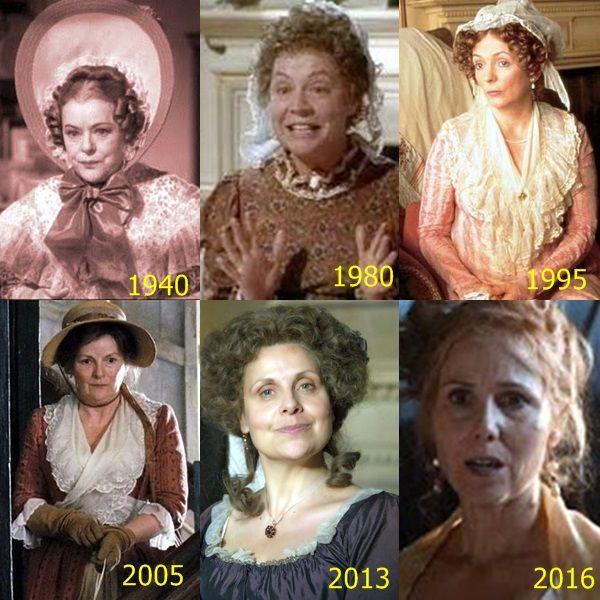Pride and Prejudice - Mrs. Bennett : - Mary Boland(1940); - Priscilla Morgan(1980); - Alison Steadman(1995); -Brenda Blethyn(2005); - Rebecca Front(2013); - Sally Phillips(2016)